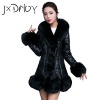 JXDINOY winter jacket women casual 2017 solid Faux Fur patchwork PU Thick Warm long sleeve striped Fox Outerwear Outfit BCJ0003