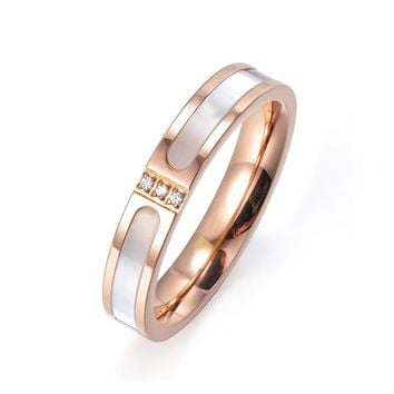 JeeMango Simple Rose Gold Color Cubic Zirconia Titanium Steel Shell Wedding Rings For Women Engagement Gifts Bague Femme R17051