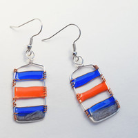 Dangle resin earring. Resin Jewelry. Silver Wire Jewelry. blue orange Grey. Gifts for her. nickel free handmade jewelry, dangle and drop