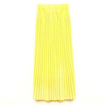 PEAPYV3 Summer Women Candy Color Double Layer High Waist Long Pleated Maxi Pleated Skirts