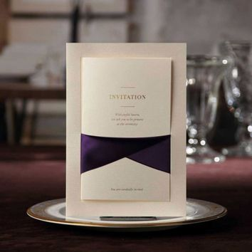 Wedding Invitations Cards With Purple Ribbon Pocketfold Invites Cardstock for Marriage Bridal Shower Favors Supplies CW2042