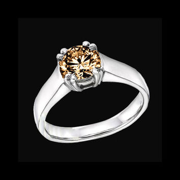 1.25 carat Champagne brown diamond solitaire ring gold
