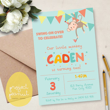 Printable Kids' Party Invitation: Little Monkey