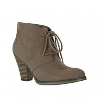 Mia Shoes Shawna Short Boots with Heel in Taupe GG378-TAN