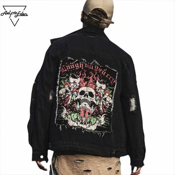 Men Punk Black Denim Jacket Skulls Print Patch Designs Holes Coats Streetwear Do Old Man Locomotive Jackets