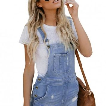 Denim Stretch Cotton Short Overalls