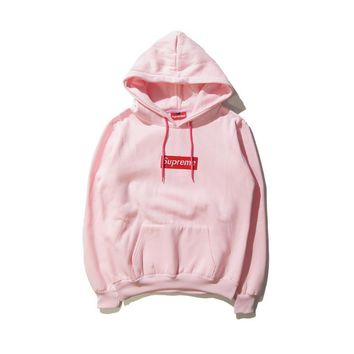 Autumn and winter skateboarding tide brand Supreme embroidery simple hooded sweater me