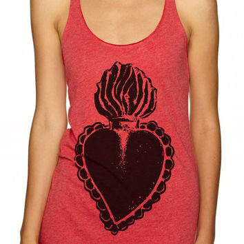 Womens Sacred Heart - Tri Blend Racerback Tank Top - El Corazon, Mexican Folk Art  - Hand Screen Printed -