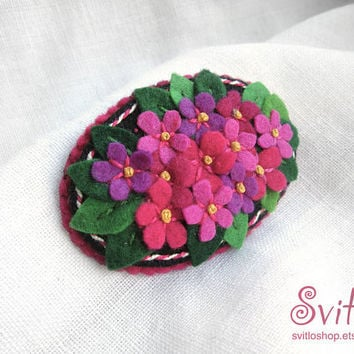 Brooch Flower Bouquet | Pink Lilac Flowers | Felt Brooch | Textile Art | Textile Jewelry | Pin | Broach | Pink, Lilac Green, Black colors