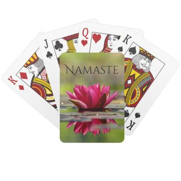 Namaste Red Water Lily Poker Cards