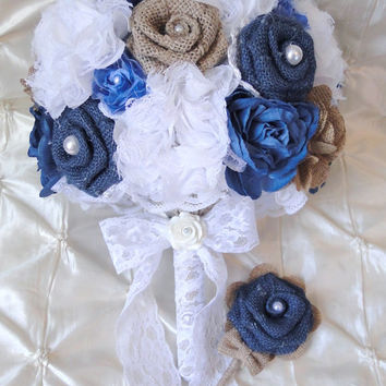 Denim and Lace Burlap Bridal Bouquet and Boutonniere Set Blue and Natural Burlap Roses, Antique Style Roses, White Chiffon Lace Beach Rustic
