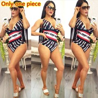 Fendi Summer Fashion New More Letter Print Vest One Piece Bikini Swimsuit