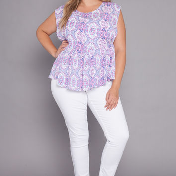 Plus Size Peplum Top | Pink Print