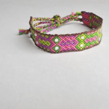 Handmade Bracelet - Diamond Aztec Pattern with Silver Crystals