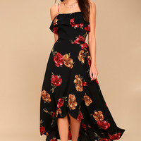 Good to You Black Floral Print Wrap Dress