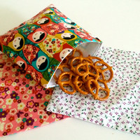 Russian Nesting Doll Babushka Set of Reusable Snack Bags Lunch Baggies and Sandwich Bags