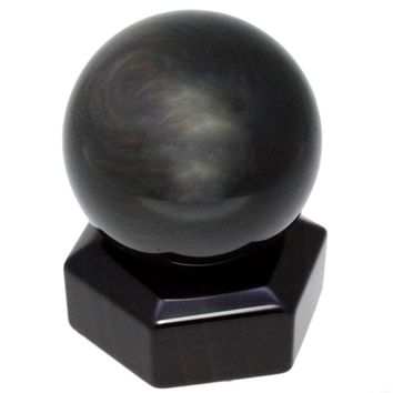 SUNYIK Black Obsidian Sphere Stone Ball Metaphysical Healing Sculpture Decoration With Stone Stand