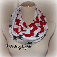 Red White Blue Chevron Gettysburg Stars Infinity Flag Scarf Jersey Cotton Patriotic Scarf 4th of July
