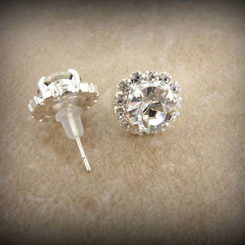 Swarovski crystal stud earrings, bridal, clear crystal, sabika inspired