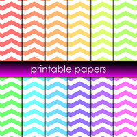 12x Spring Chevron Stripes Printable Digital Scrapbook Papers Instant Download