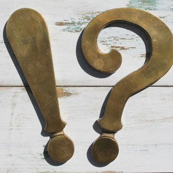 Vintage Brass Punctuation Paperweights, Question Mark, Exclamation Point, Lettering, Typography