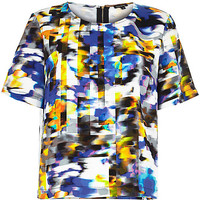 River Island Womens Blue blur print t-shirt
