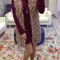 Warm Welcome Shaggy Mocha Fur Vest