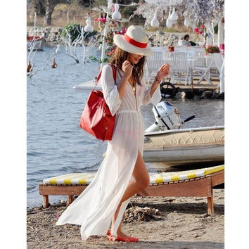 Fashion Women long Beach Shirt,white Beach Wear Sexy Ladies Swimwear Bikini Beach Cover Up, White Bathing Suit Cover Ups (Size: L, Color: White) = 5657649409