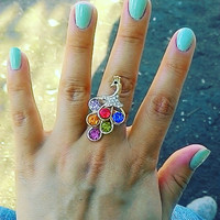 Peacock with crystal  Adjustable Star Rings US Ring Sizes 6 - 10 Flashy Multi-Colored Rhinestone