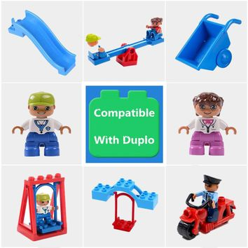 Big Particle Diy Building Blocks Swing Seesaw Slide Motor Accessories Toys For Children Compatible With Legoingly Duplo Bricks