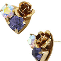 BetseyJohnson.com - IMPERIAL ROSE HEART EARRING PURPLE