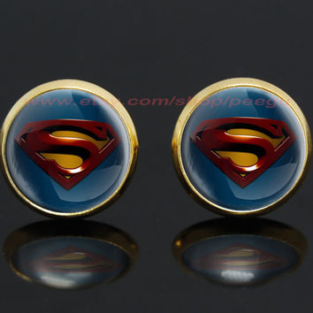 superman gold plated stud post earrings,superhero earrings,girlfriend gift Bridesmaid Gift