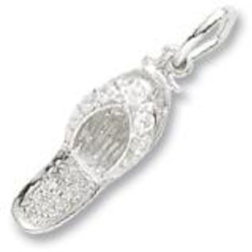 White Cz Sandal Charm In Sterling Silver