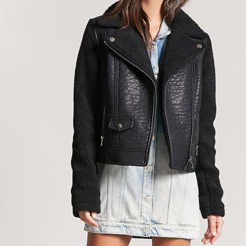 Fleece-Lined Moto Jacket
