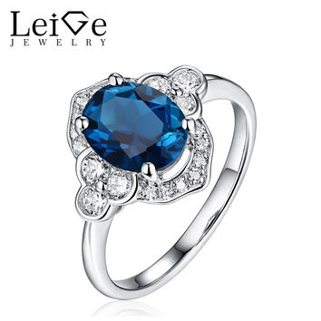 LEIGE JEWELRY SILVER LONDON BLUE TOPAZ RING OVAL CUT NATURAL GEMSTONE WOMEN WEDDING PROMISE RINGS ANNIVERSARY GIFT