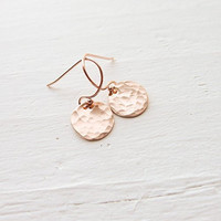 Dainty Rose Gold Filled Hammered Dot Earrings