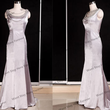 Elegant Silver Two Shoulder V Back Round Bateau Necklace Mermaid Floor Length Long Prom Dress with Train,mother of the bridal dresses