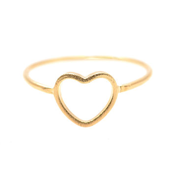 Handcrafted Brushed Metal Hollow Heart Ring