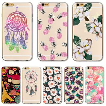 For iPhone7 Soft TPU Cover For Apple iPhone 7 Case Cases Phone Shell Hot Sales Painted Datura Flowers Dream Catcher