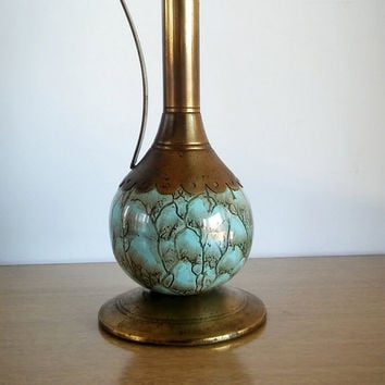 Brass Holland Water Urn Blue Marble, Vintage Holland Delft Marble Urn with Brass