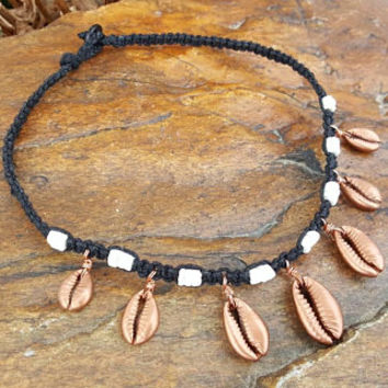 Hemp Choker Necklace, Rose Gold , Cowrie Shell Choker, Handmade, Rose Gold Cowrie, Puka Shells, Hemp Necklace, Shell Necklace, Hemp Choker
