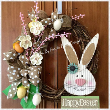 Easter Wreath, Easter Bunny Wreath, Grapevine Easter Wreath, Burlap Easter Wreath, Easter, Wreath, Easter Bunny