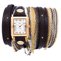 La Mer Black Gold Stud Venice Gold Wrap Watch