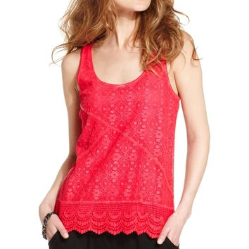 DKNY Jeans Womens Juniors Lace Sleeveless Tank Top