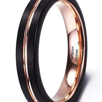 CERTIFIED 4mm black Rose gold plated tungsten carbide ring for women