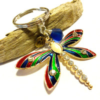 Striking Multi Color Dragonfly Initial Remembrance Keychain