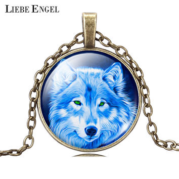 LIEBE ENGEL Cool Teen Wolf Pendant Necklace Vintage Bronze Statement Chain Jewelry Summer Style Glass Cabochon Necklace Women