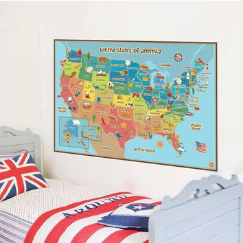 American World Map Removable Vinyl Decal Wall Sticker