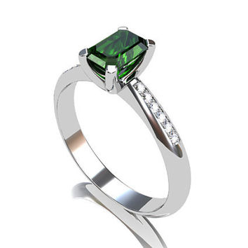 Green Tourmaline engagement ring, White Gold, Emerald cut, tourmaline, Solitaire, Engagement ring, Diamond, green