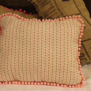Shabby Chic Pink Pom Pom Pillow,Handmade, Floral, Shabby Chic Rose, Flower, Home Decor, Cottage, Pink Pillow, Housewares, Home Decor, Pretty